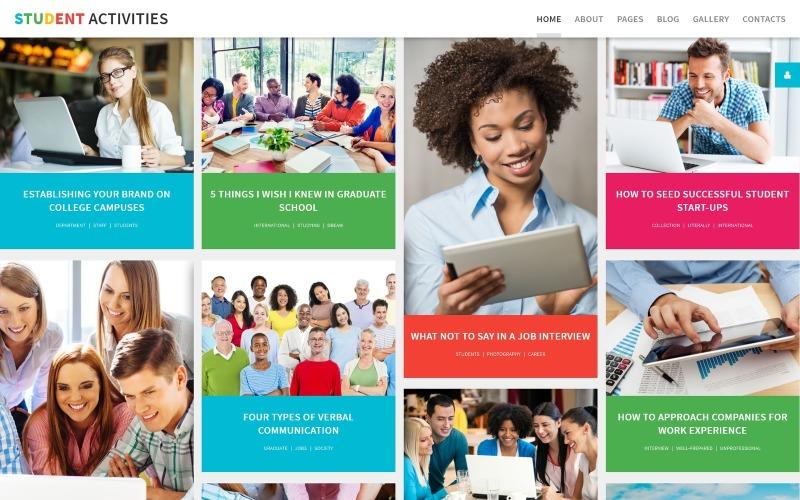 Atividades estudantis - Faculdades e universidades Modelo criativo Joomla de várias páginas