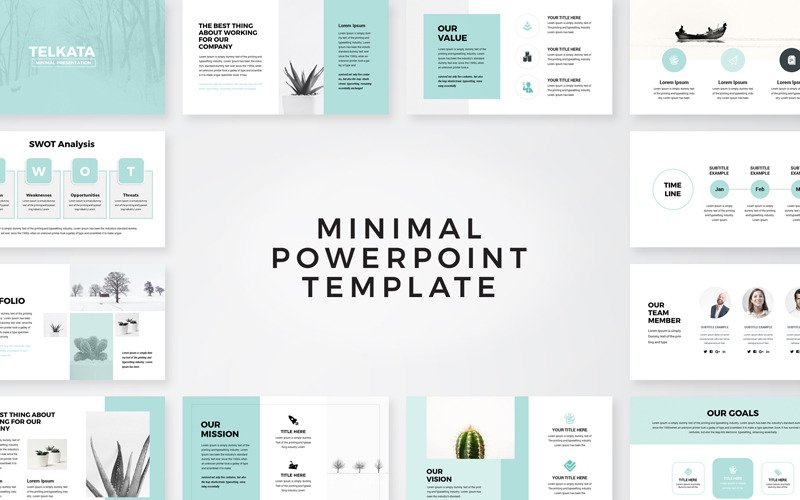 Telkata Minimal Clean Presentation PowerPoint template