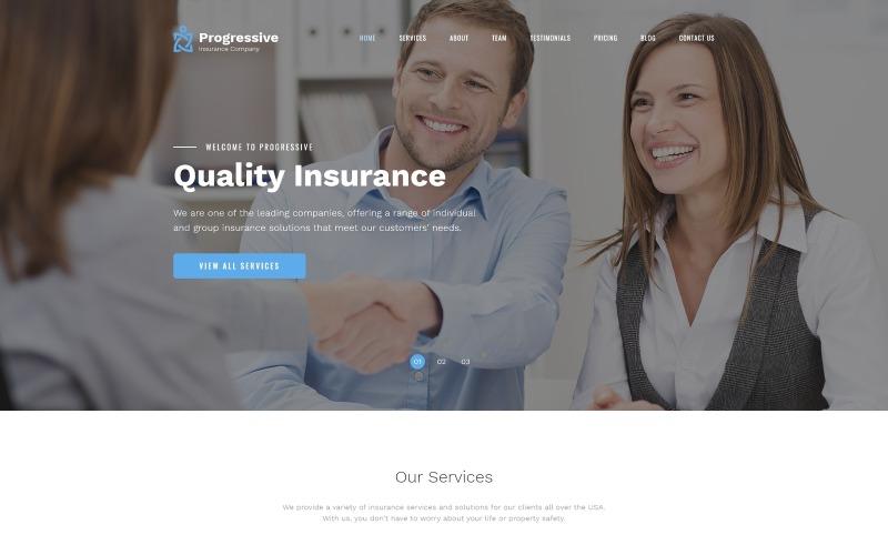 Progresivní - Pojištění Čistá šablona HTML vstupní stránky Bootstrap4