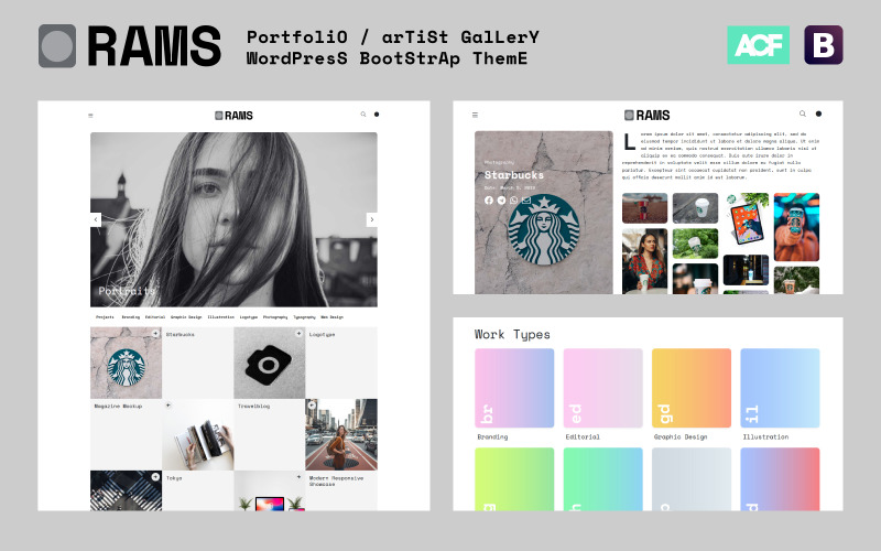 RAMS - Portfolio Artist Gallery WordPress téma