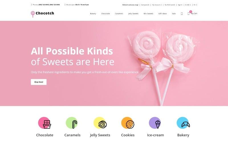 Chocotch - Plantilla OpenCart creativa de comercio electrónico de Sweet Shop