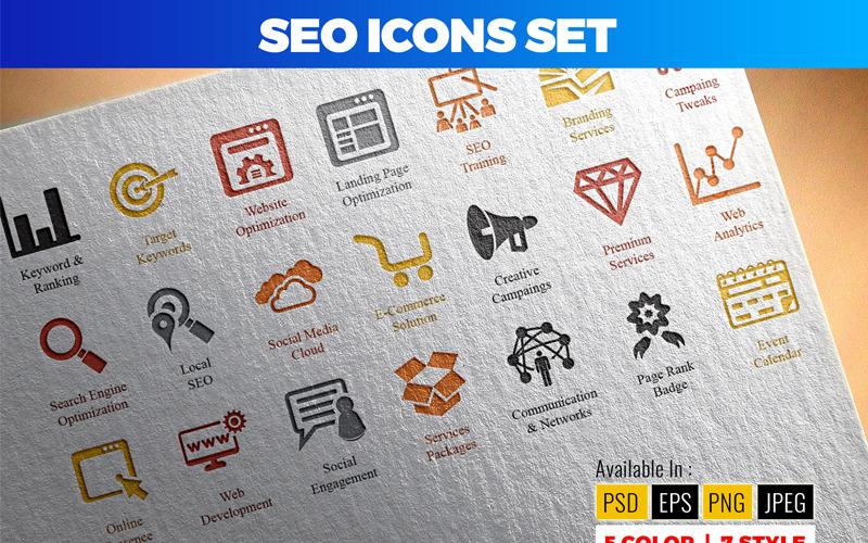 Conjunto de iconos de SEO (optimización de motores de búsqueda)