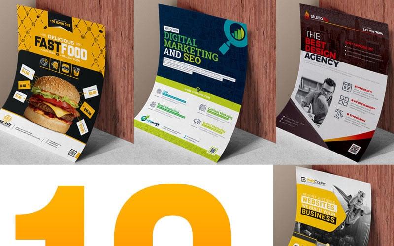 Flyer Template Bundle   10 Flyer Design - Corporate Identity Template