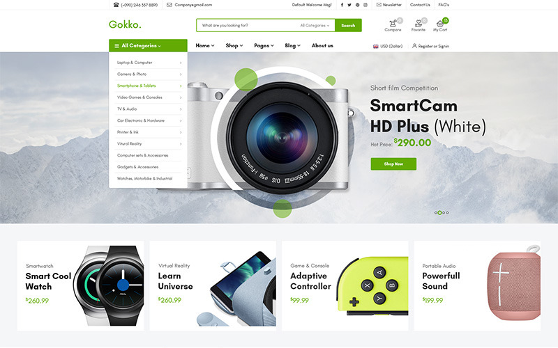 Gokko - багатоцільова тема WooCommerce