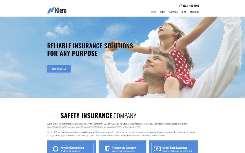 Klero - Insurance Services Multipurpose Classic WordPress Elementor Theme