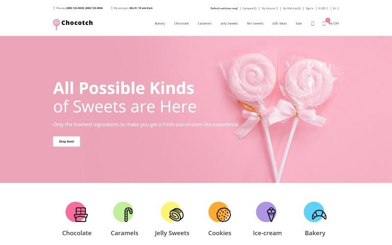 Chocotch - Sweet Shop e-kereskedelem kreatív OpenCart sablon