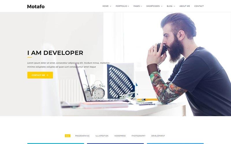 Plantilla de sitio web de cartera mínima de Motafo