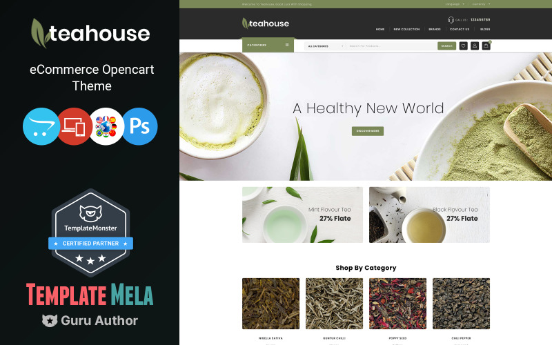 Teahouse - Modèle OpenCart de magasin d'aliments et de boissons