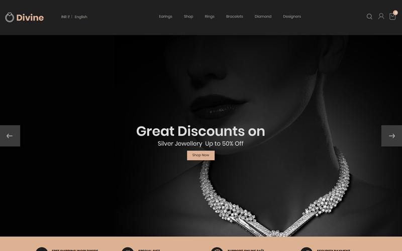 PrestaShop téma Divine - Jewellery Black