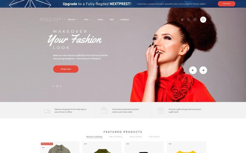 Nextprest - Tema PrestaShop de comercio electrónico de Bootstrap limpio y gratuito