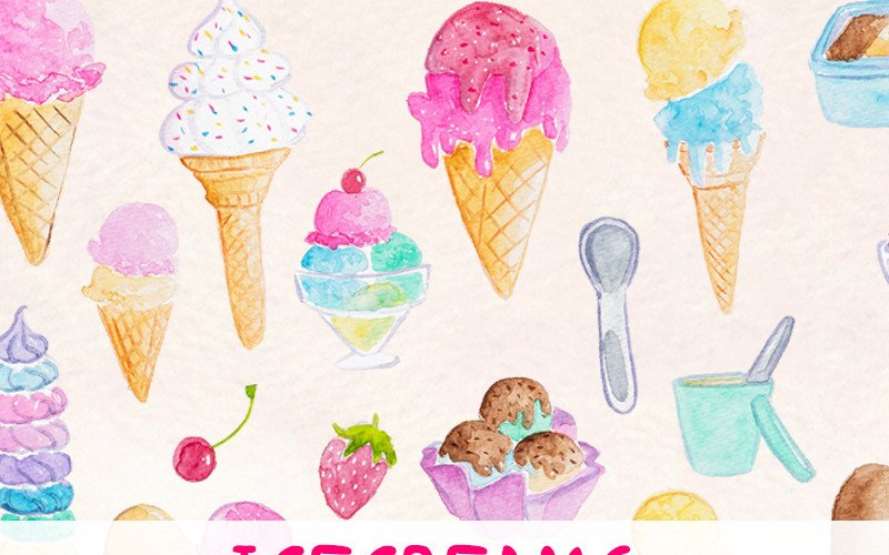 37 Icecream and Summer Snack - Illustration
