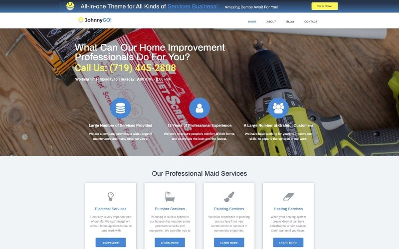 JohnnyGo Lite - Multipurpose Home Services WordPress Elementor Theme