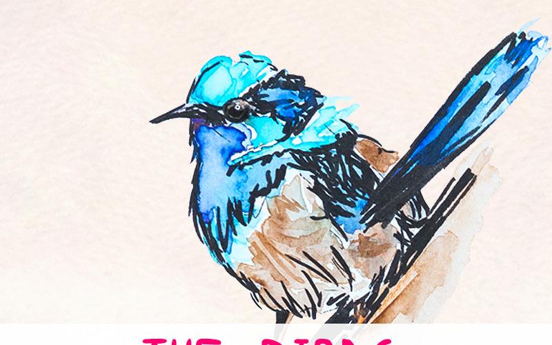 20 красочных акварельных птиц - иллюстрации
