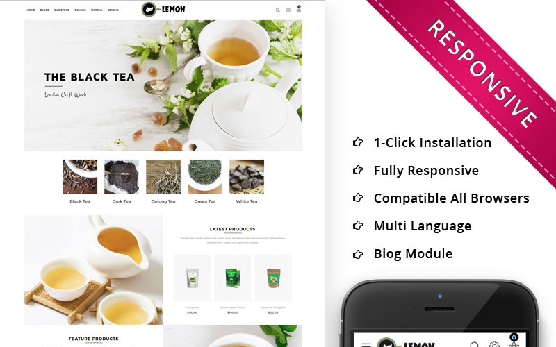 Lemon - Адаптивный OpenCart шаблон для магазина напитков