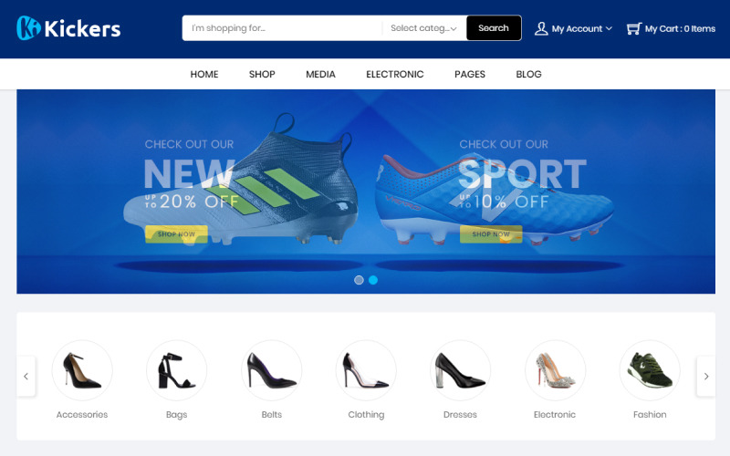 WooCommerce téma Kickers Footwear