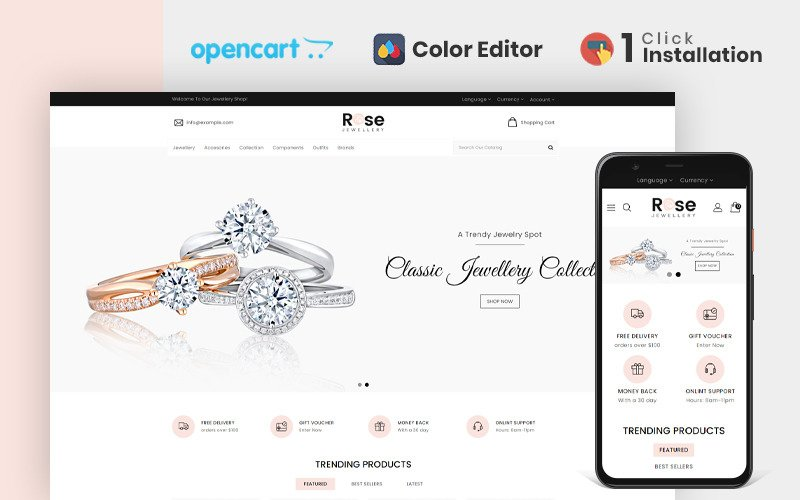 Rose Jewellery Store OpenCart-sjabloon