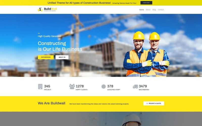 BuildWall Lite - WordPress тема Elementor для строительной компании