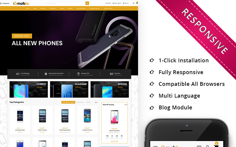 Moblic - responsywny szablon OpenCart One Stop Mobile Shop