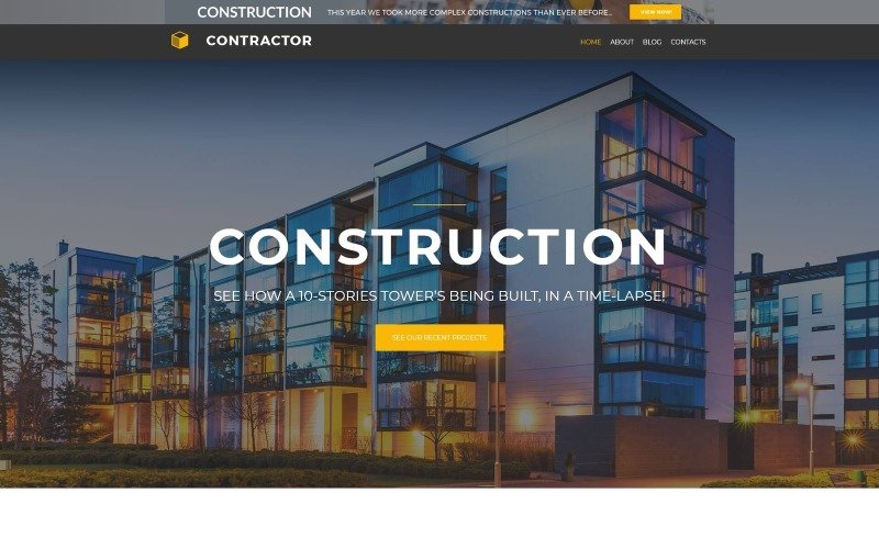 Contractor lite - тема WordPress для архитектурно-строительной компании Elementor