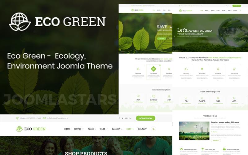 Eco Green - шаблон Joomla для окружающей среды, экологии и возобновляемых источников энергии