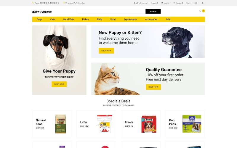 Best Friends - Pets Store Clean OpenCart Template