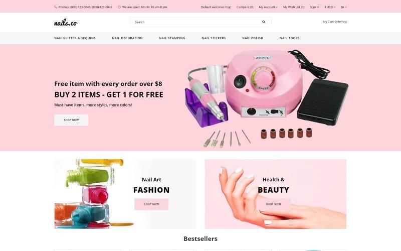 Paznokcie co. - Wielostronicowy stylowy szablon OpenCart w sklepie z artykułami kosmetycznymi