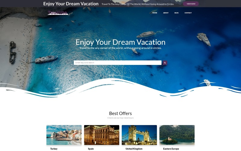 Tourizto lite - Travel Company WordPress Elementor téma