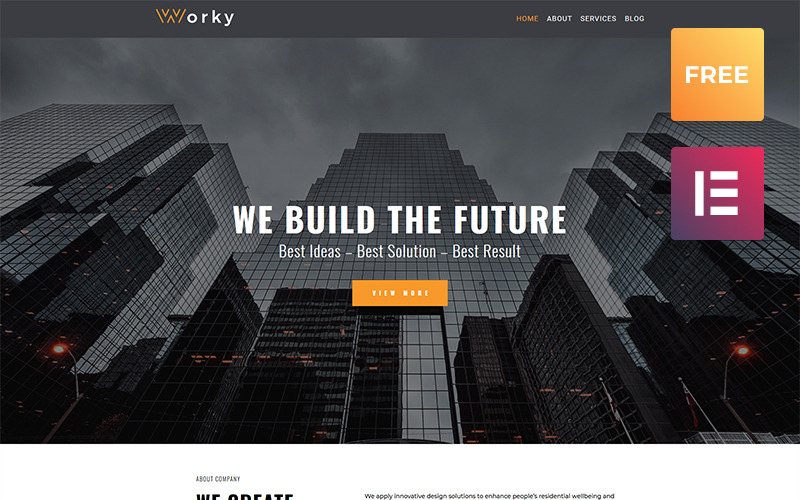 Worky lite-建筑现代WordPress Elementor主题