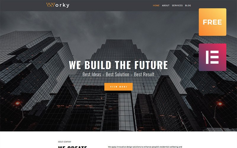 Worky lite - Tema arquitetônico moderno do WordPress Elementor