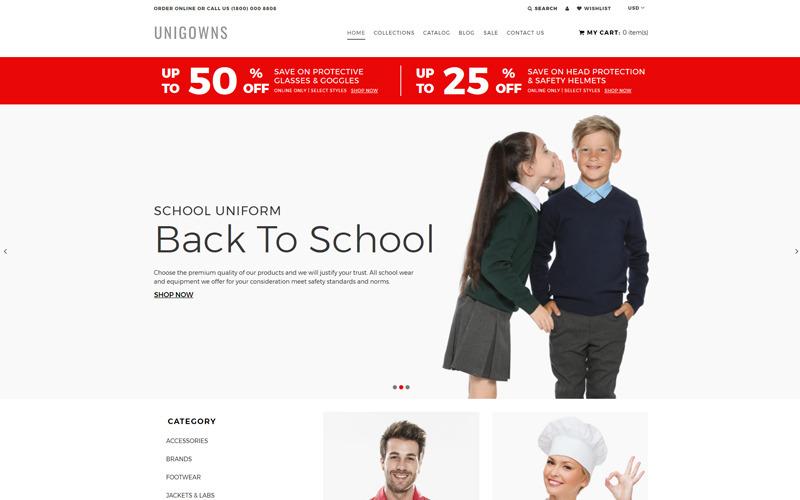 Unigowns - Uniform Store Clean Shopify Theme