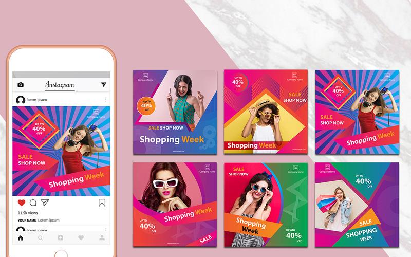 Modèle de médias sociaux de pack de bannières Instagram coloré