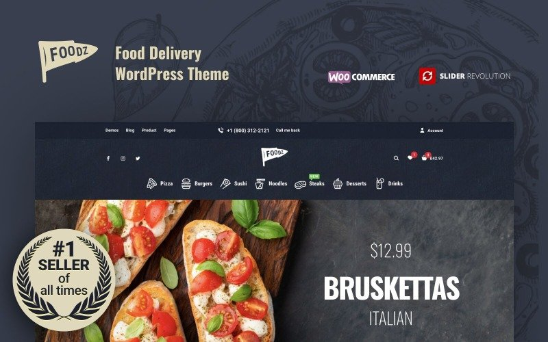 Foodz - Pizza, Sushi, Fast Food Delivery e Ristorante WooCommerce Theme