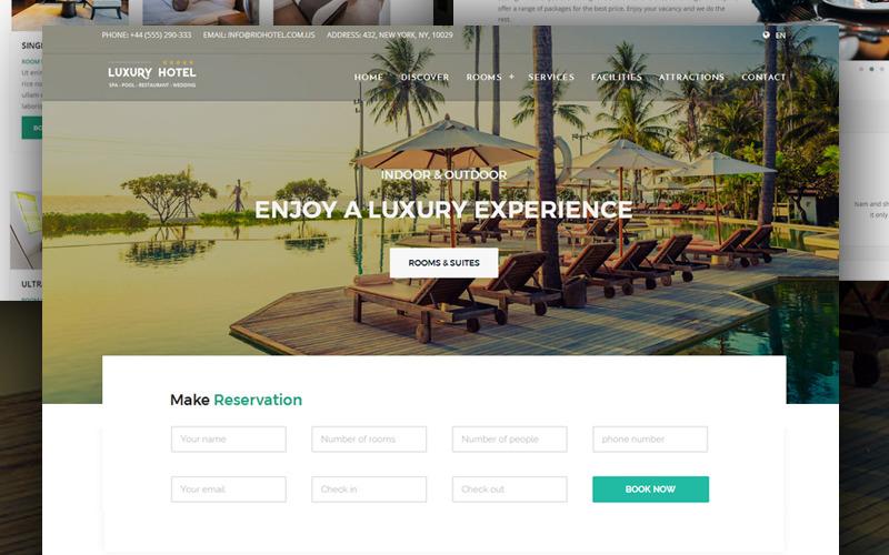 Отель - Бронирование - Курорт - Спа и ресторан + Шаблон веб-сайта RTL