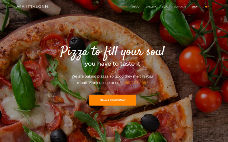 Mia Ittalonni - Pizzeria E-handel Modern WordPress Elementor-tema