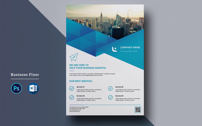 Геометрический синий бизнес-флаер - шаблон фирменного стиля