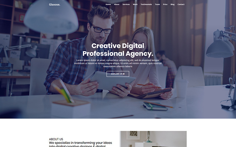 Glaxose - Business Agency Landing Page Template
