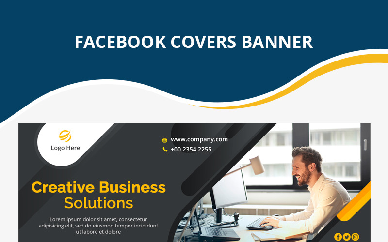 Шаблон обложки для корпоративного бизнеса Facebook для социальных сетей