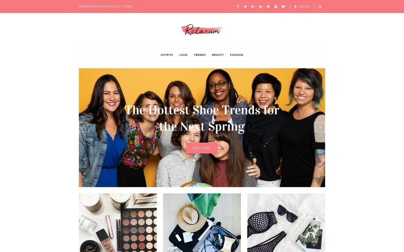 Relarum - Blog feminino tema multiuso clássico WordPress Elementor