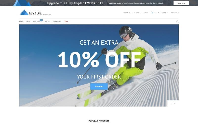Sportek - Magasin d'équipements de sports d'hiver Thème PrestaShop gratuit