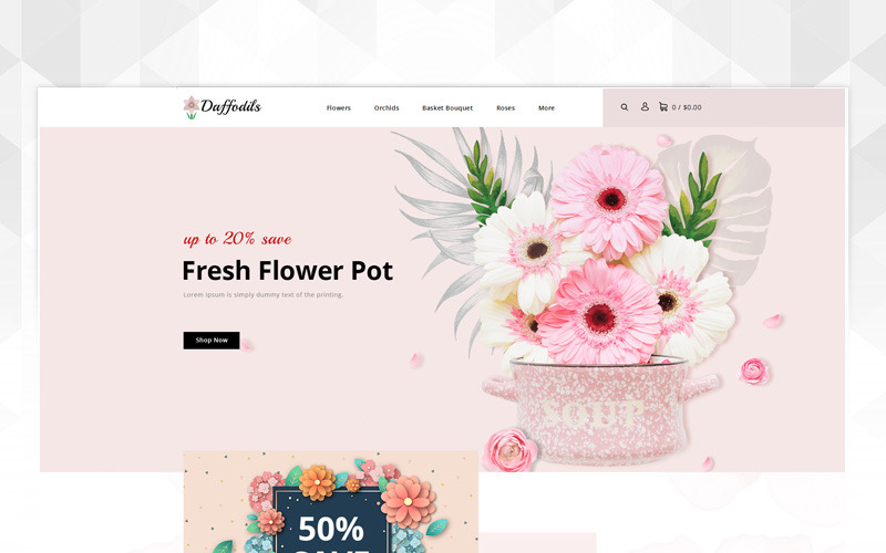 Нарциссы - OpenCart шаблон магазина цветов