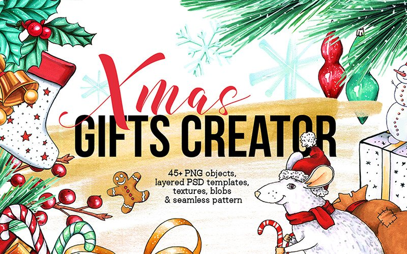 Xmas Gifts Creator - 2020 Feiertage Clipart - Illustration