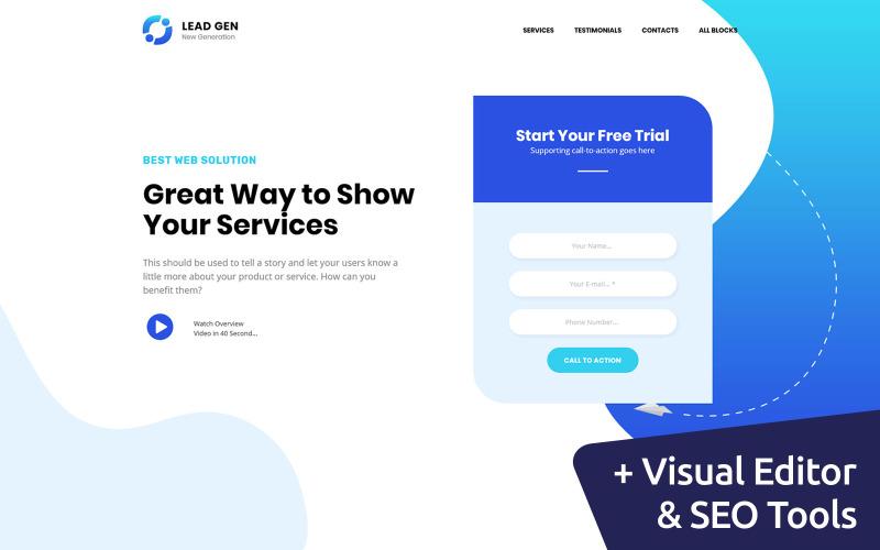 Modelo de página inicial de geração de leads