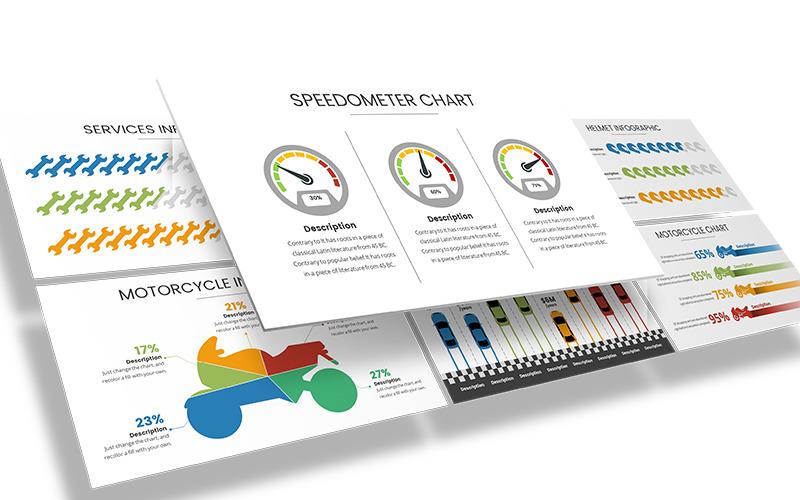 Modelo de PowerPoint de infográfico automotivo