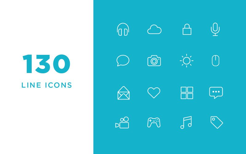 Vector Line Icons and Font Set