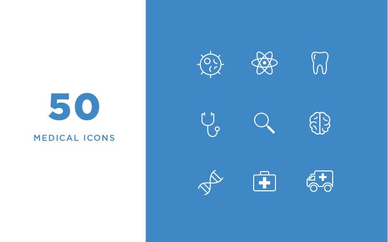 Ensemble d'icônes de ligne médicale