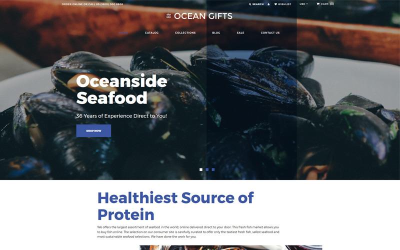 Ocean Gifts - Современная тема Shopify для магазина морепродуктов