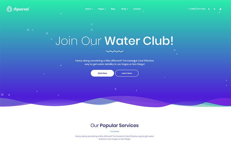 Aquareal - Şişelenmiş Su Dağıtımı WordPress Teması