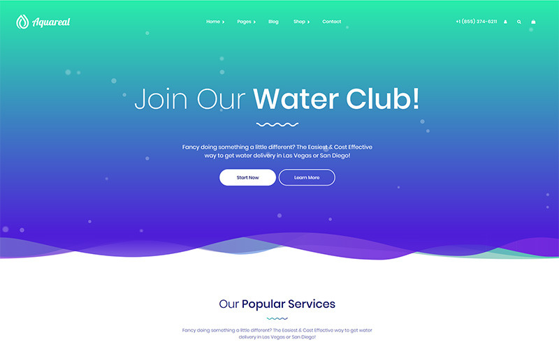 Aquareal - Téma WordPress s dodávkou balené vody