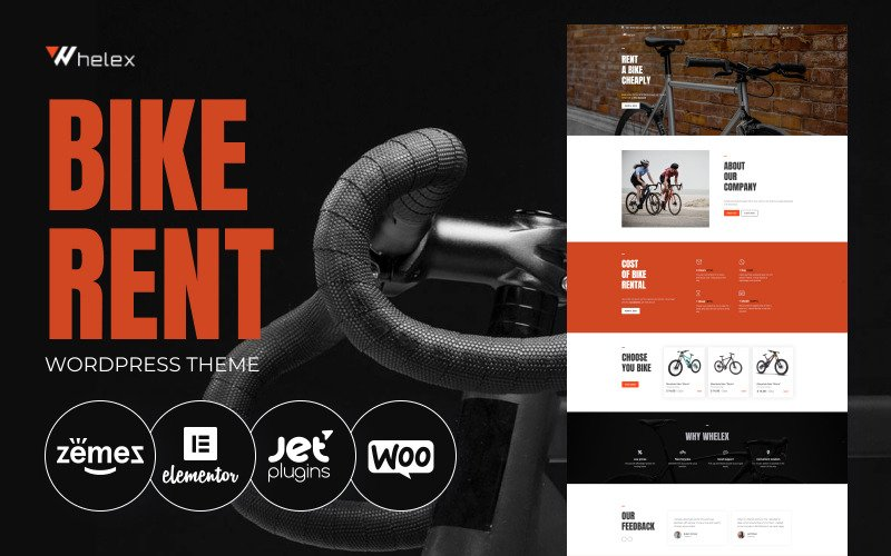 Whelex - многофункциональная современная тема WordPress Elementor для аренды велосипедов