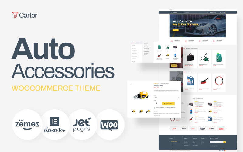 Cartor - Tema de WooCommerce de Elementor clásico de accesorios para automóviles